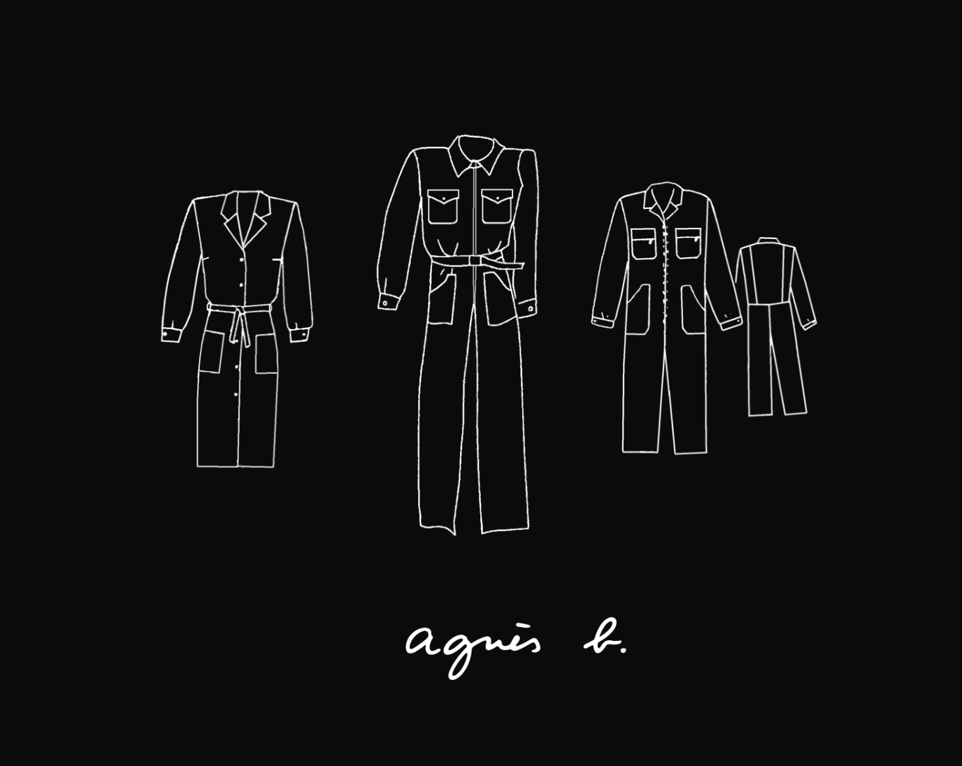 Agnès b logo with drawings of clothes