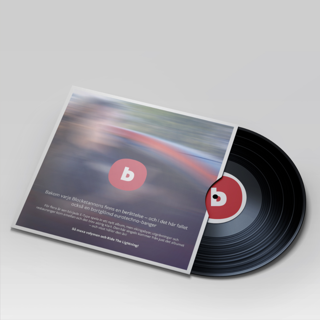 Campaign material with vinyl disc concept having Blocket logo
