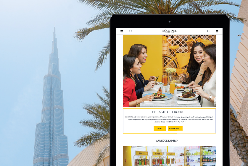 L'occitane tablet screenshot with Dubai in background