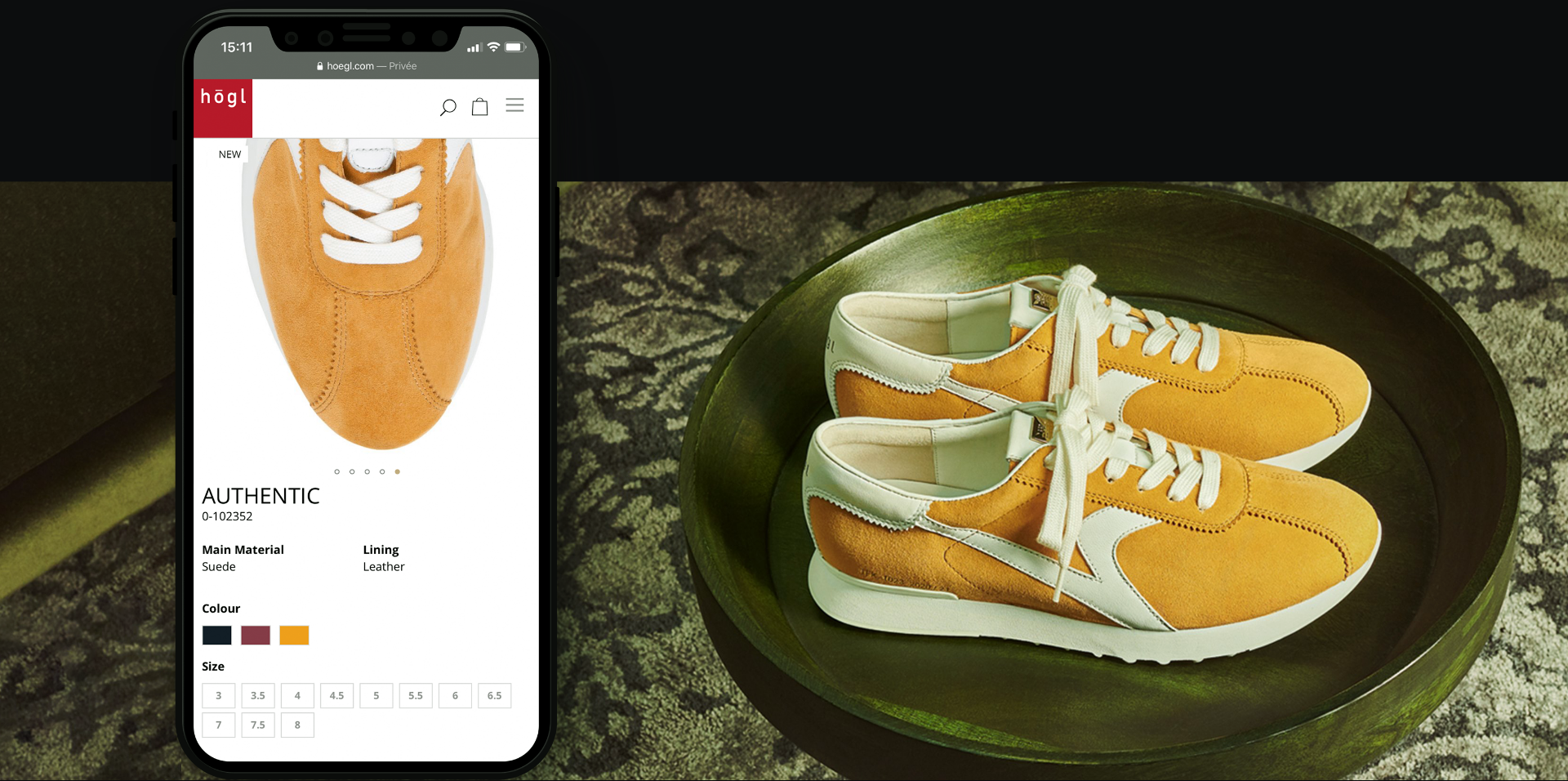 orange shoes mockup smartphone