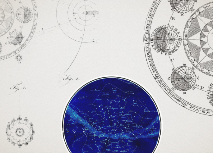 Drawings of the astral theme watch of Jaeger-Le-Coultre