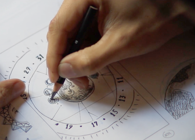Hand drwaing the astral theme design of the Jaeger-Le-Coultre watch