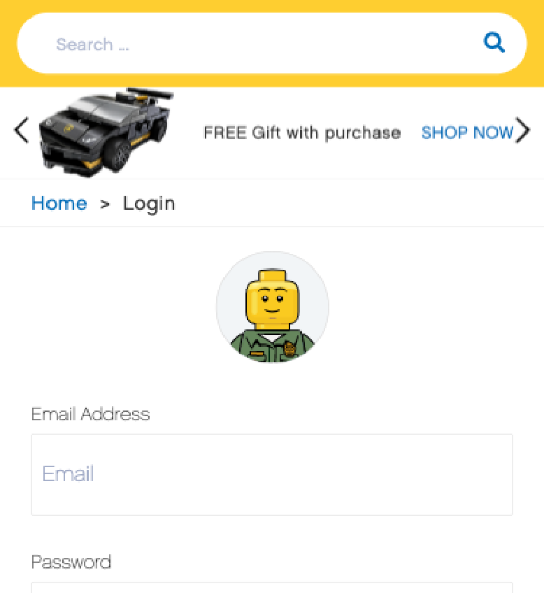 Interface of Lego website