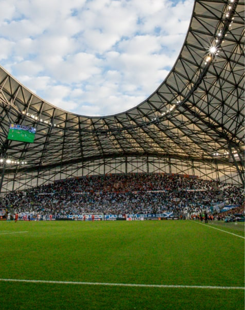 "Inside view of Olympique de Marseille named ""Le vélodrôme"""