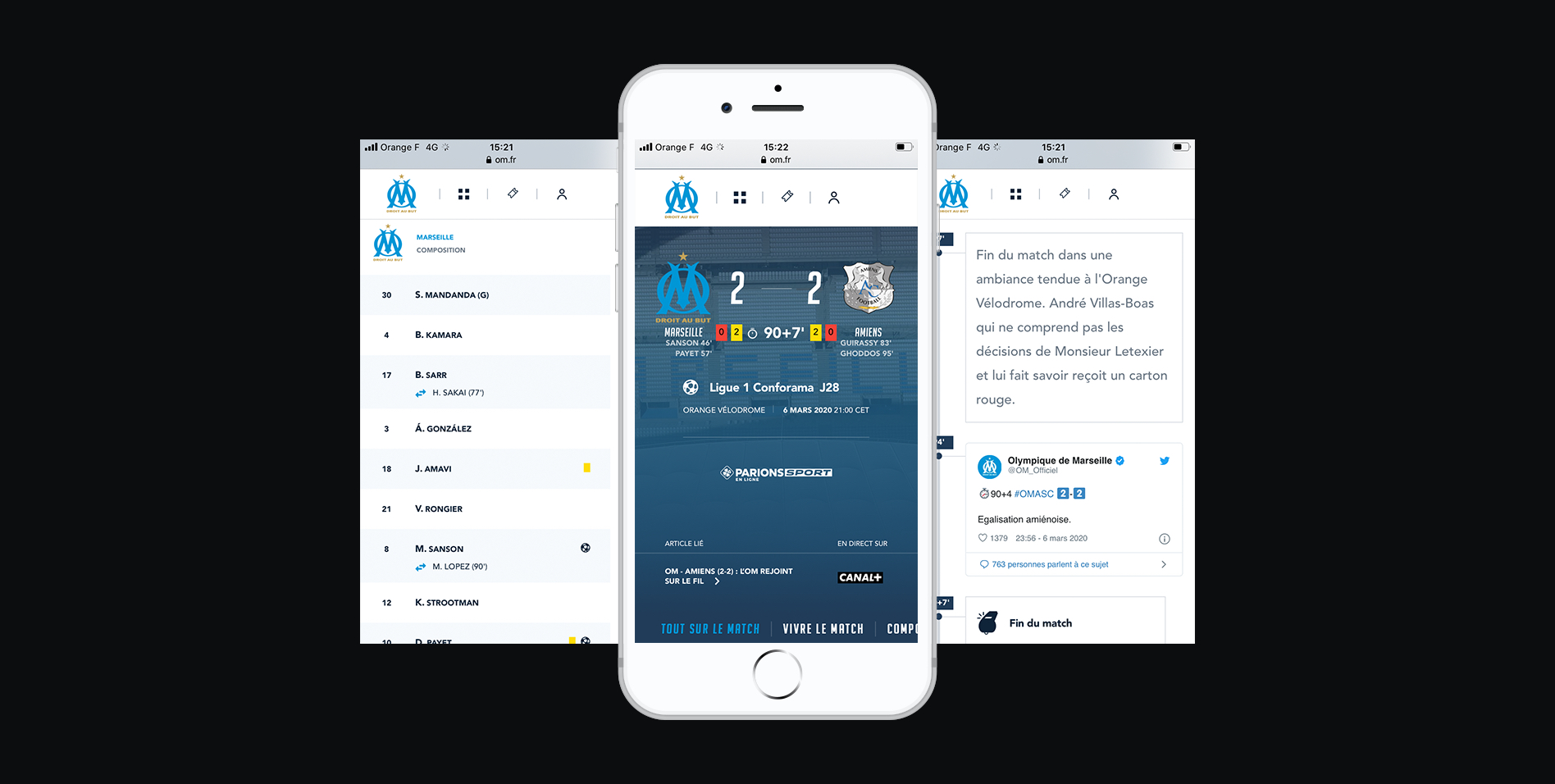 Three screenshots of OM responsive website on a smartphone