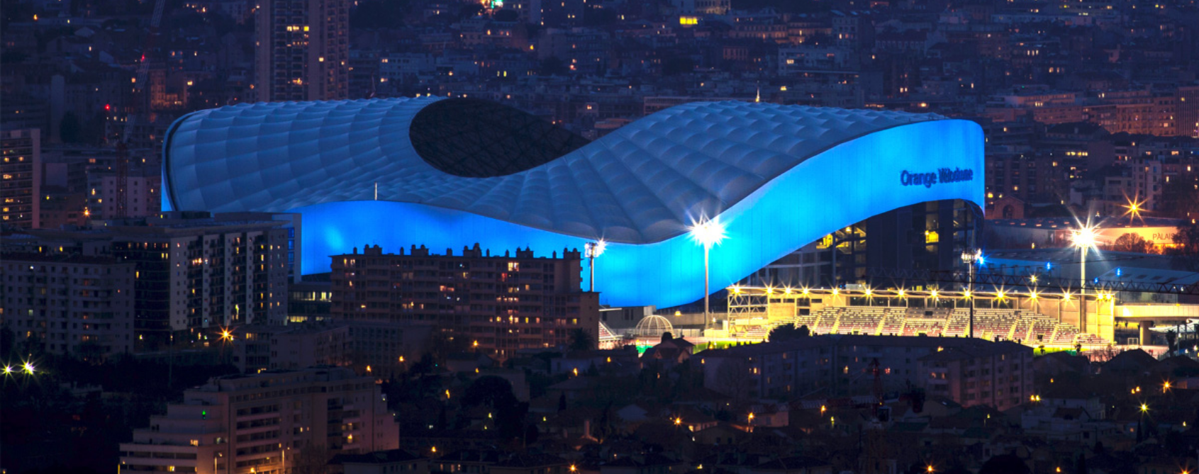 View of the OM stadium Le Vélodrôme by night